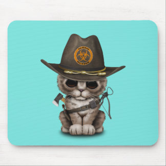 Cute Kitten Zombie Hunter Mouse Pad