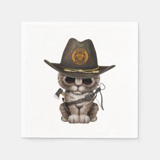 Cute Kitten Zombie Hunter Paper Napkin