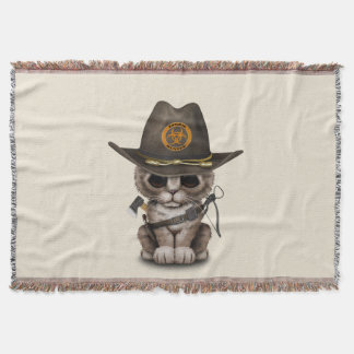 Cute Kitten Zombie Hunter Throw Blanket