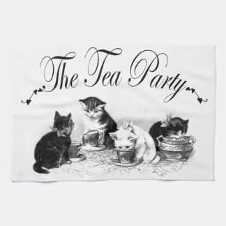 cute kittens tea party kitchen towel