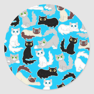 Cute Kitties Cartoon Cat Print - Blue Classic Round Sticker