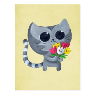 Cute Kitty Cat and flowers Postcard