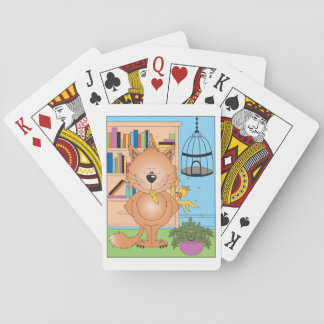 Cute Kitty Cat Cartoon and Friend Playing Cards