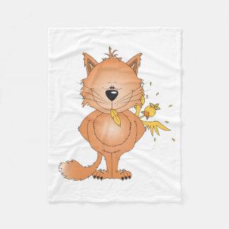 Cute Kitty Cat Cartoon Fleece Blanket