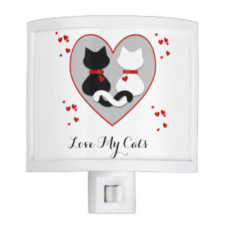 Cute Kitty Cat Couple Red Hearts Night Light