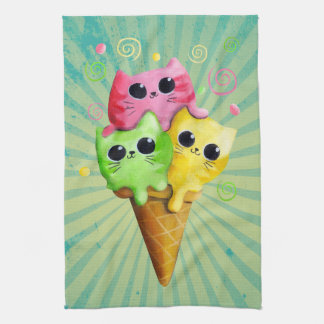 Cute Kitty Cat Ice Cream Kitchen Towels