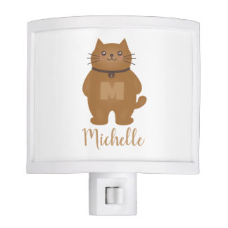 Cute Kitty Cat Lover Monogram Baby Nursery Room Nite Light