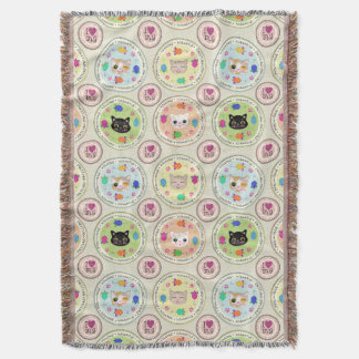 Cute Kitty Cat Lover's Pattern Throw Blanket