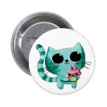 Cute Kitty Cat with Kawaii Cupcake 2 Inch Round Button