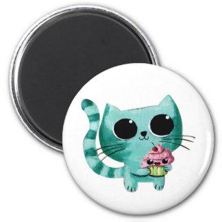 Cute Kitty Cat with Kawaii Cupcake Fridge Magnet
