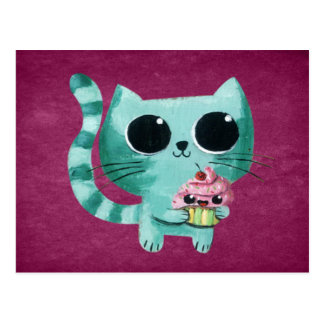 Cute Kitty Cat with Kawaii Cupcake Postcard