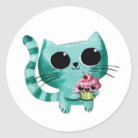 Cute Kitty Cat with Kawaii Cupcake Round Sticker