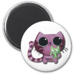 Cute Kitty Cat with Little Green Monster 2 Inch Round Magnet