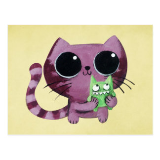 Cute Kitty Cat with Little Green Monster Postcard