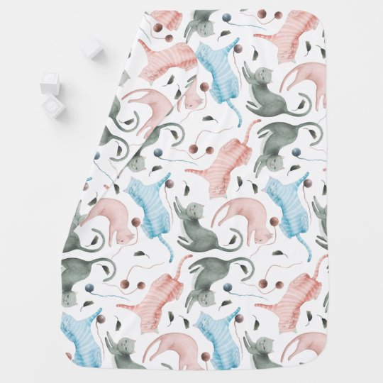 Cute Kitty Cats Seamless Patter Pastel Watercolors Receiving Blanket