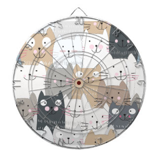 Cute kitty kitten cat blue grey pattern dartboard