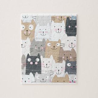 Cute kitty kitten cat blue grey pattern jigsaw puzzle