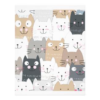 Cute kitty kitten cat blue grey pattern letterhead