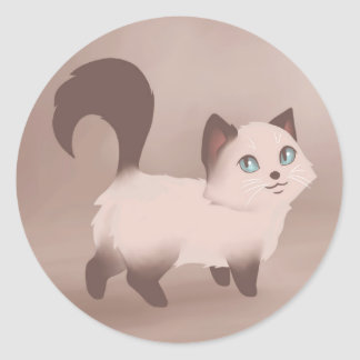 Cute Kitty Painting Round Sticker