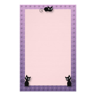 Cute Kitty Paw Print Stationery