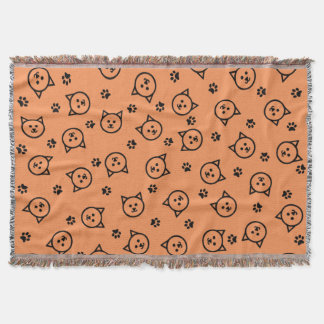 Cute Kitty Print Throw Blanket