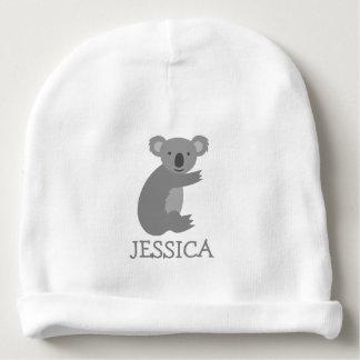 Cute koala bear baby beanie hat with custom name
