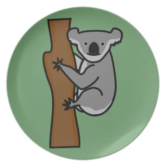 Cute koala bear in a tree plate