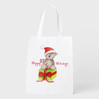 Cute koala bear on gift Christmas bag Grocery Bags