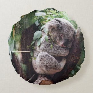 Cute Koala Bear relaxing in a Tree Round Pillow