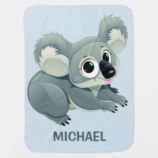 Cute Koala custom name baby blanket