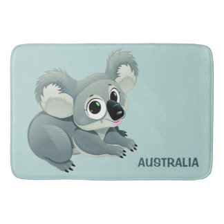 Cute Koala custom text bath mats
