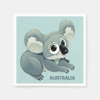 Cute Koala custom text paper napkins
