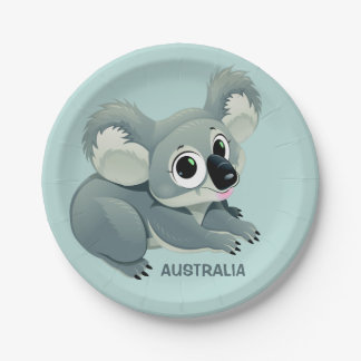 Cute Koala custom text paper plates