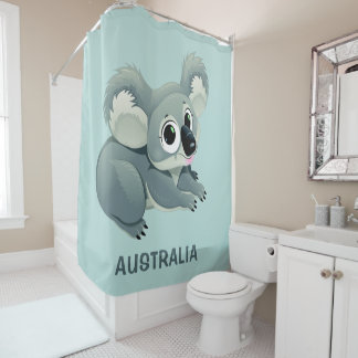 Cute Koala custom text shower curtain