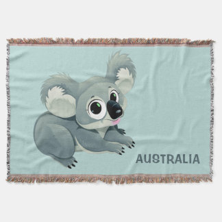 Cute Koala custom text throw blanket