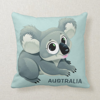 Cute Koala custom text throw pillows