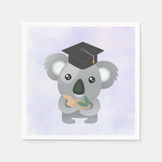 Cute Koala in a Black Graduation Cap Paper Napkin