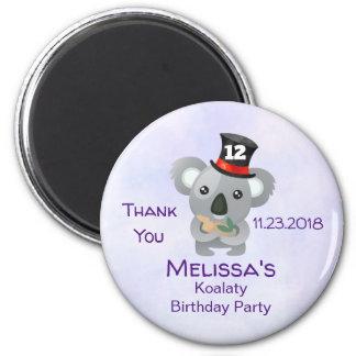 Cute Koala in a Black Top Hat Birthday Thank You Magnet