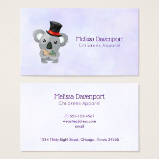 Cute Koala in a Black Top Hat Business Card
