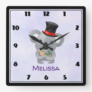 Cute Koala in a Black Top Hat Custom Square Wall Clock
