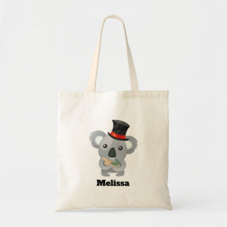 Cute Koala in a Black Top Hat Custom Tote Bag