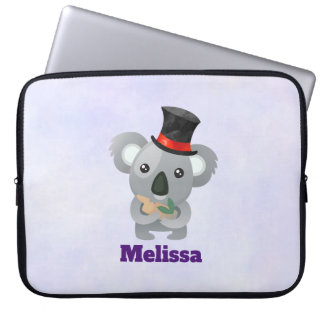 Cute Koala in a Black Top Hat Laptop Sleeve