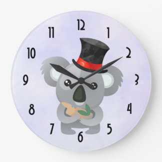 Cute Koala in a Black Top Hat Large Clock