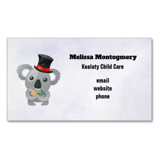Cute Koala in a Black Top Hat Magnetic Business Card