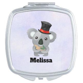 Cute Koala in a Black Top Hat Makeup Mirrors