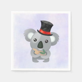 Cute Koala in a Black Top Hat Napkin