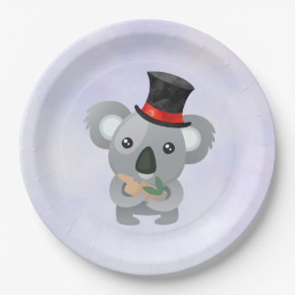Cute Koala in a Black Top Hat Paper Plate