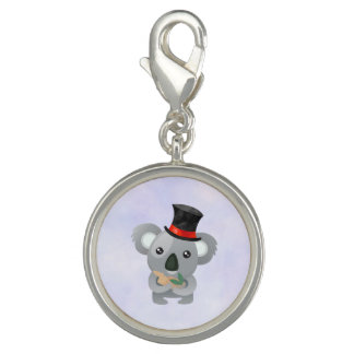 Cute Koala in a Black Top Hat Photo Charm