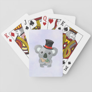 Cute Koala in a Black Top Hat Playing Cards
