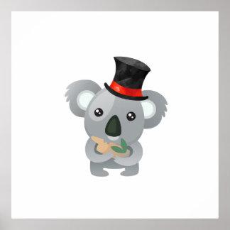 Cute Koala in a Black Top Hat Poster
